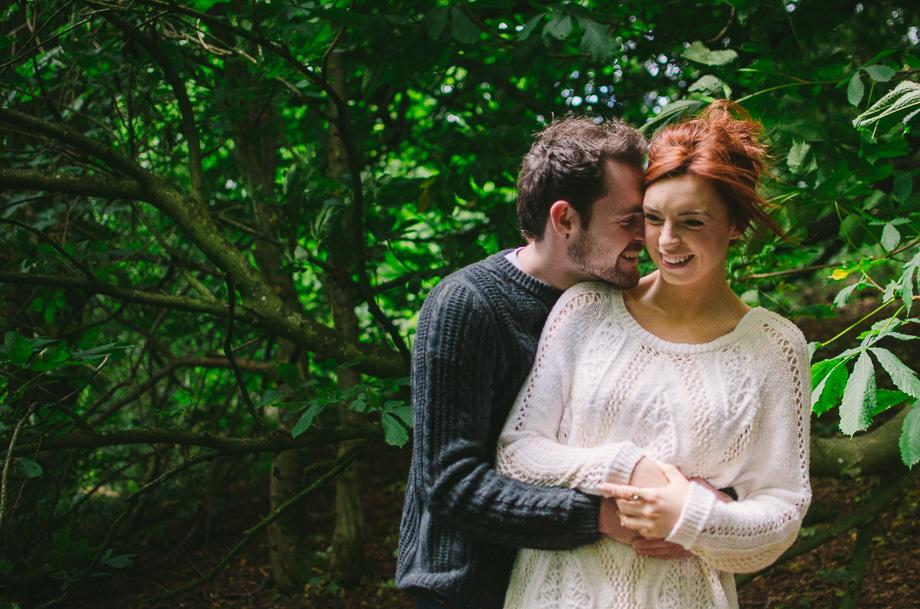 couple, lovebirds, hill of tara, green, greenery, hug